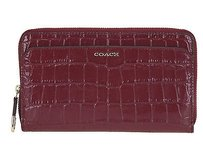 Coach Coach 50249 Madison Merlot Croc Embossed Leather Zip Around Wallet