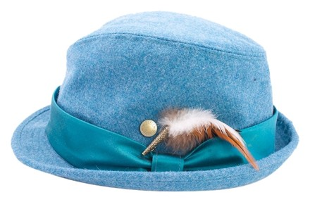 Coach COACH TEAL WOOL FEATHERED FEDORA M/L