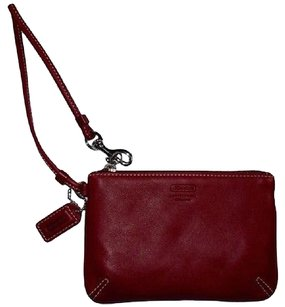 Coach Coach Red Smooth Leather Skinny W Wristlet Zip Pouch Accessory