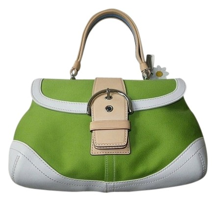 Preload https://item4.tradesy.com/images/coach-daisy-soho-vachetta-top-handle-purse-green-canvas-fabric-leather-tote-531433-0-0.jpg?width=440&height=440