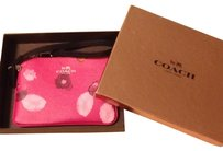 Coach Geniune Brand New Zip Inside Pockets Box Wristlet in pink floral