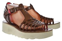 Coach Putnam Womens Gladiator 9b Leather Wedges Heels Brown Sandals
