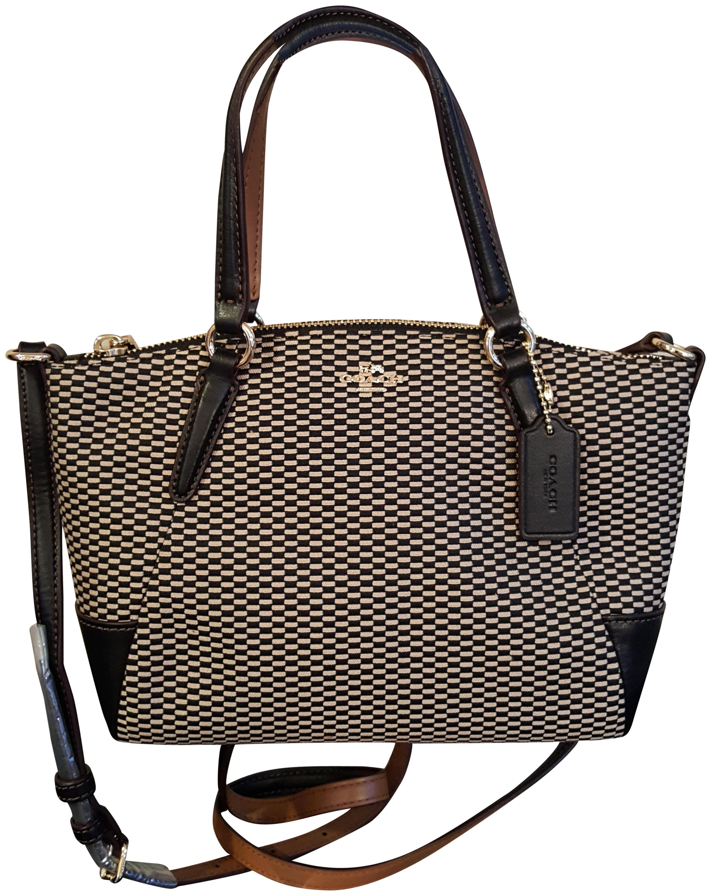 06af97962cc8 ... promo code for coach kelsey crossbody exploded rep legacy jaquard  satchel in milk black 653a1 b1cfd