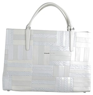 Coach Large East West Patchwork Satchel in White