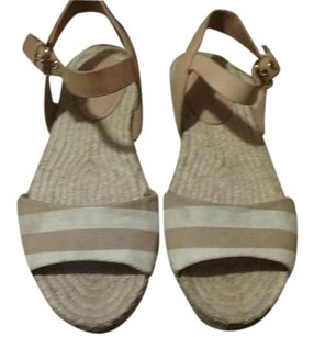 Coach Leather And White Sandal Tan Flats