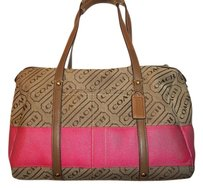 Coach Leather Canvas Satchel in Brown/Pink signature Satchel