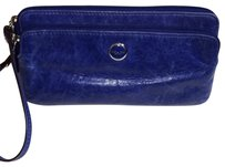 Coach Leather Silver Hardware Wristlet in Royal Blue