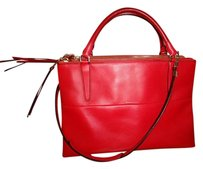 Coach Leather Smooth Zippers Luxury Satchel in Red