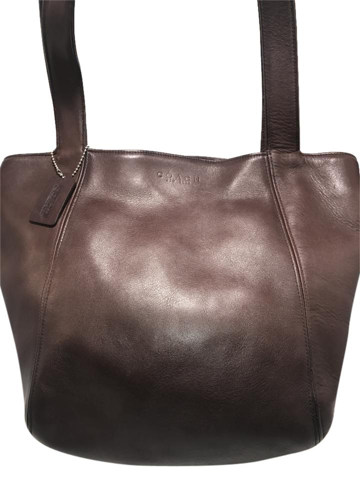 d181a25d49 ... smooth leather tote handbag bag 6a6af cc6de  cheapest coach hand leather  tote in brown 0ad86 45690
