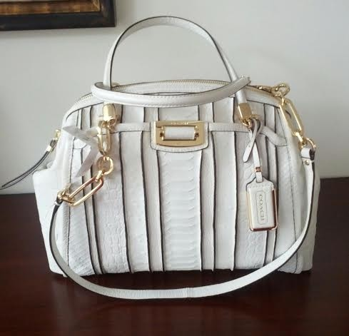 ab202038a432 ... germany coach madison domed in exotic stripe white leather satchel  tradesy 518fa 186dd