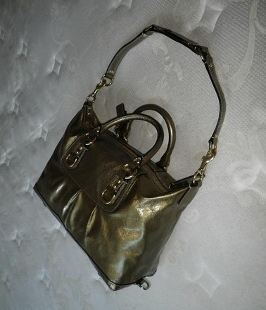 Coach Louis Vuitton Dooney Bourke Gucci Channel Rare Vintage Tote in Antique Gold