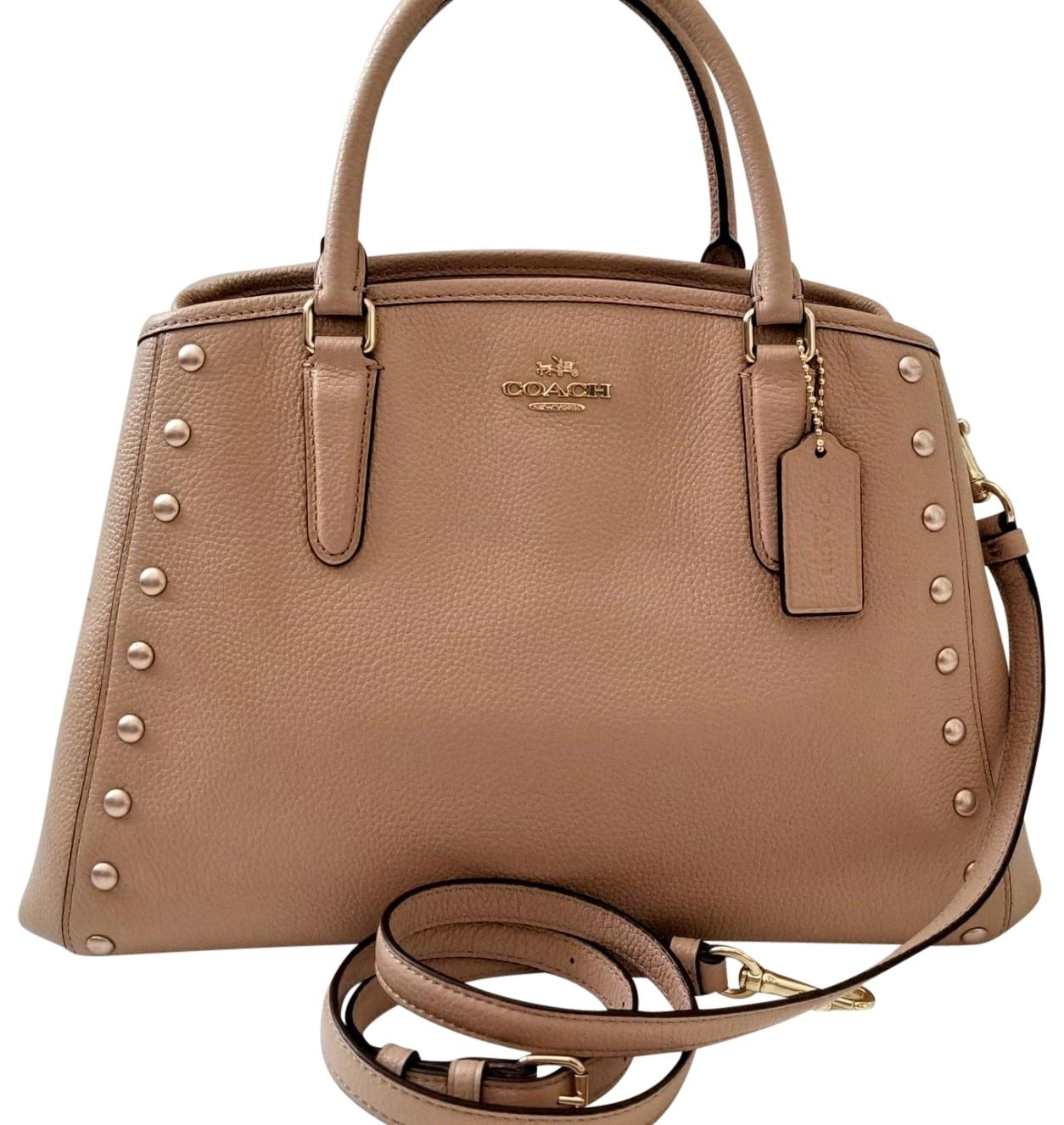 59a4b15d35 ... low price coach gold hardware leather two way crossbody studded satchel  in nude pink f2594 cf003