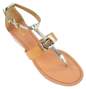 Coach Metallic Leather Silver Silver/Ginger Sandals