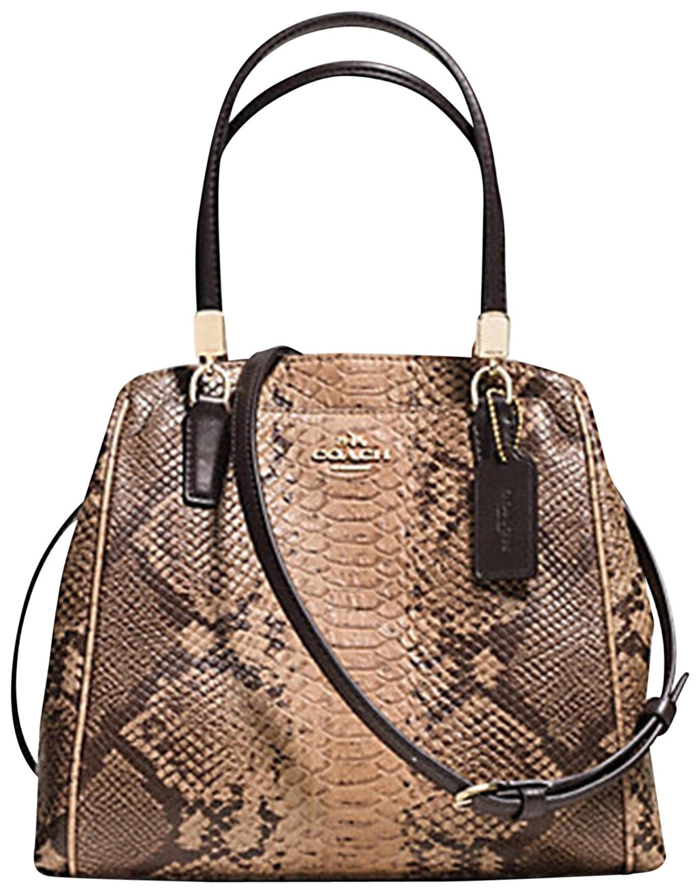 8274f7b54126 discount coach colorblock python shoulder bag 0cfff 5385f  low cost coach  minetta snakeskin python satchel in natural 983fa 38d96