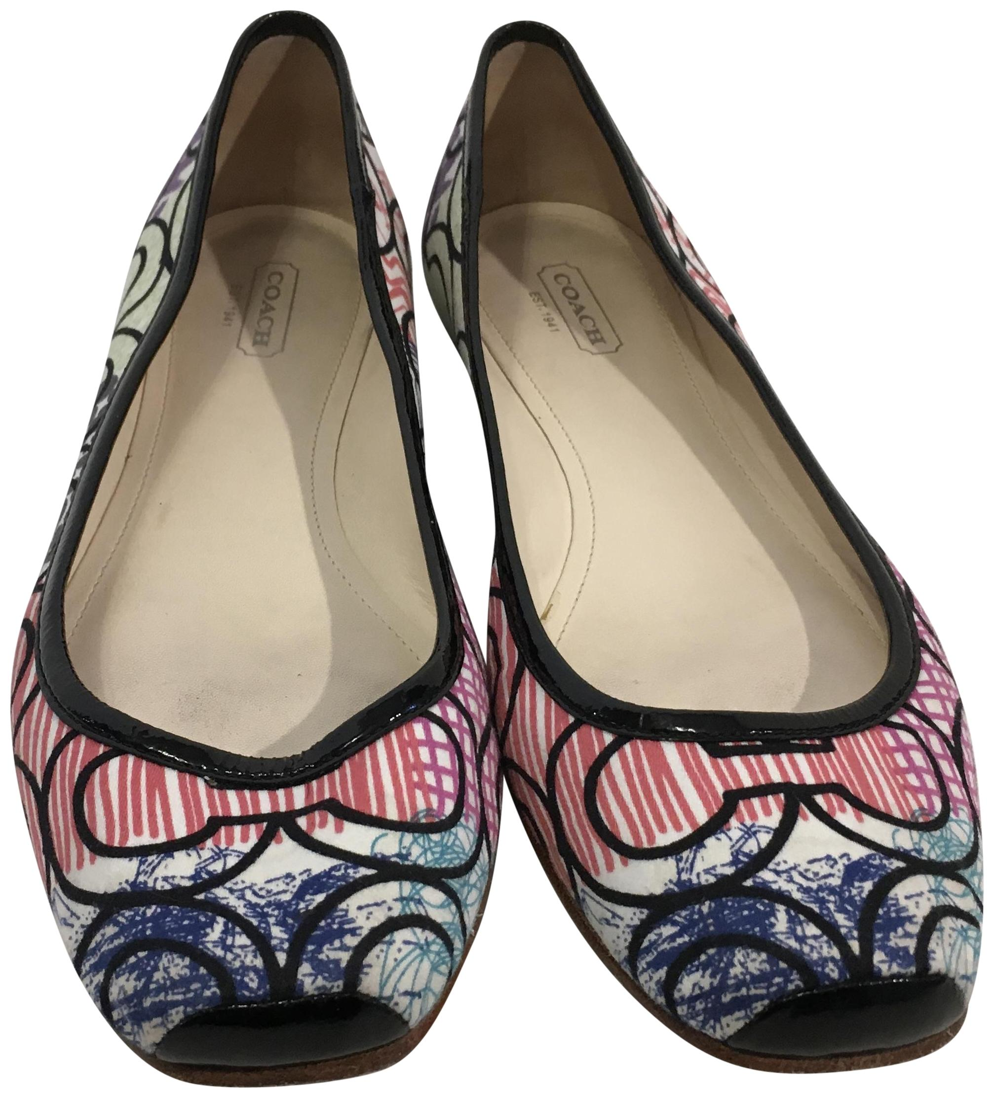 Coach Multi Color Logo Fabric Flats Leather Lining Padded Insoles 8 B