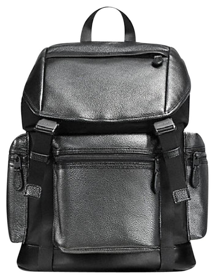 1e0d1ab63 ... sale coach metallic leather rucksack nylon mens backpack d67f1 32146