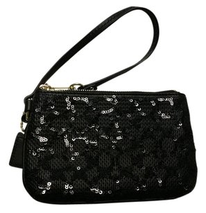 Coach NWT Poppy Signature C Sequin Small Wristlet 50481 BRASS/BLACK