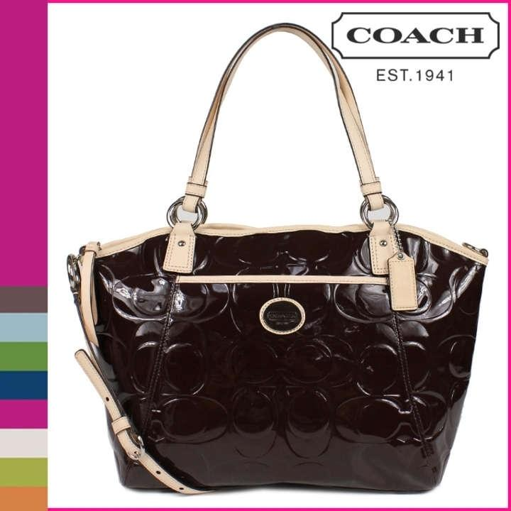 fdfd32a7656f ... spain coach peyton embossed patent patent leather pocket tote handbag  chocolate shoulder bag.