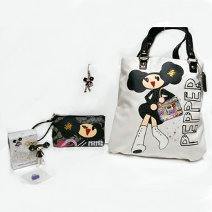 Coach Poppy Chan Pepper Tote in White & Black