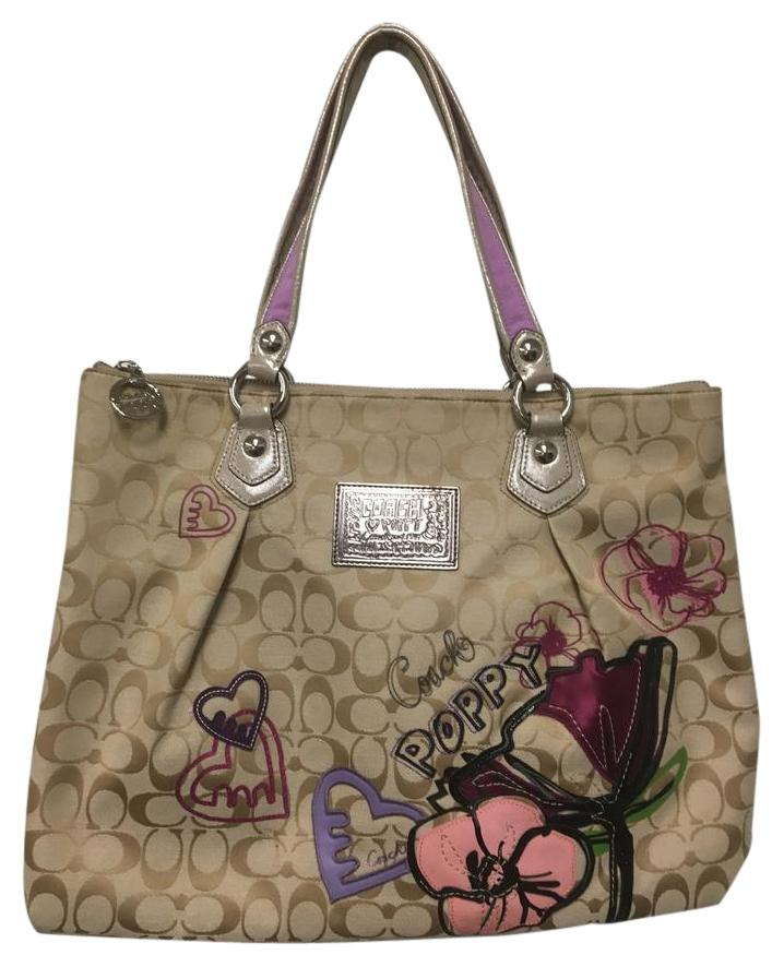 ... petal print rocker tote handbag 16308 angelnyc e 1c2cf 18405 discount  code for coach poppy glam applique tote in tan with metallic and lavender  handles ... 6466fca26b3c4