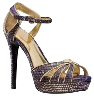 Coach Pump Heels Snakeskin Purple & Gold Platforms