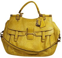 Coach Python Rare Out Leather Satchel in Yellow and Gold