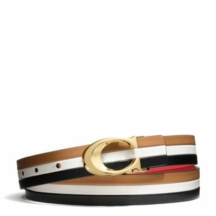 Coach Reversible Leather Vermillion Tri-color Belt