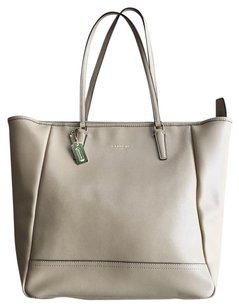 Coach Saffiano Leather Beige Tote in Sand