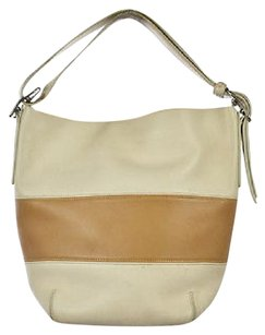 Coach Womens Ivory Color Block Handbag Casual Leather Shoulder Bag