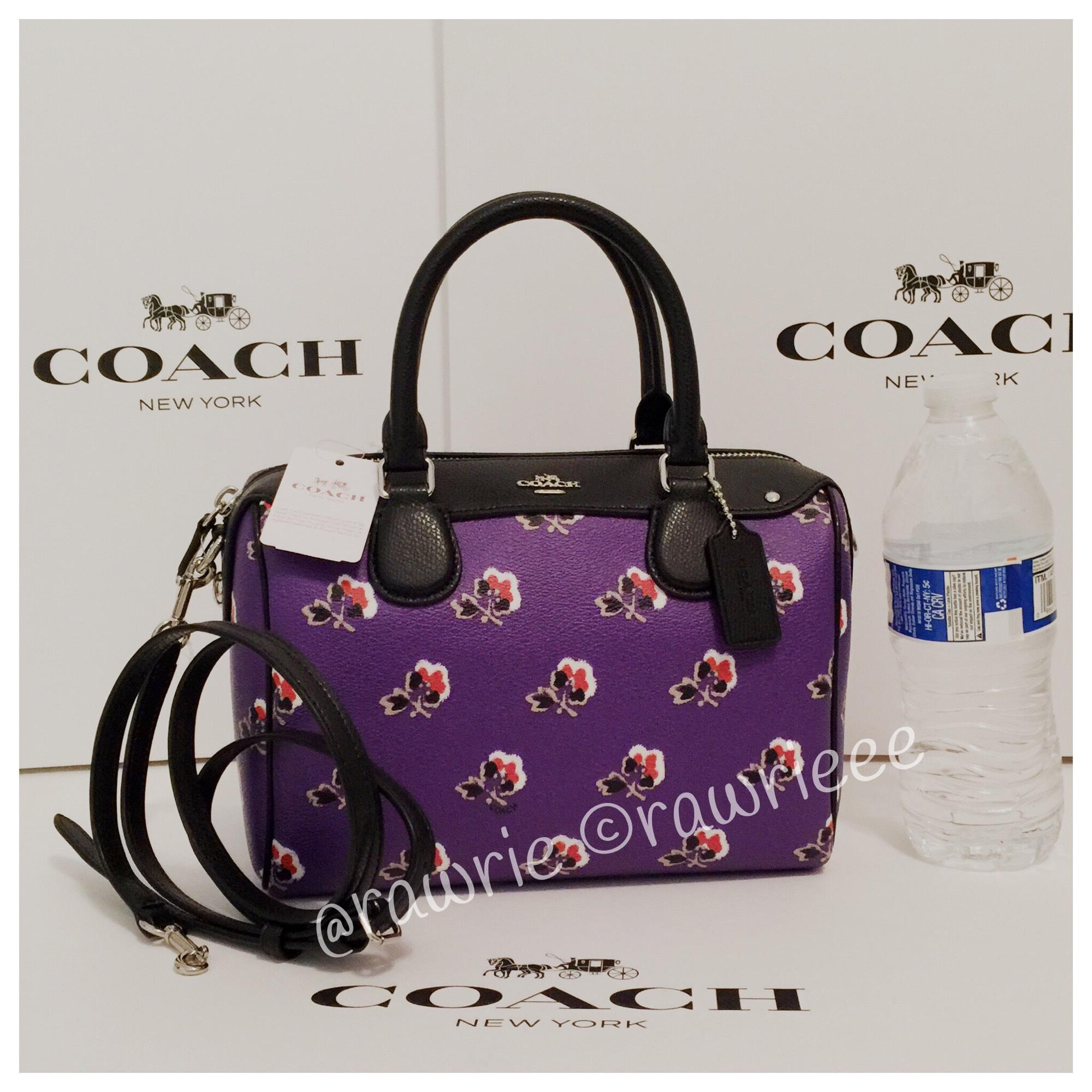 413859810c5d ... discount code for coach bennett bramble rose floral mini crossbody  black purple leather satchel tradesy d1515