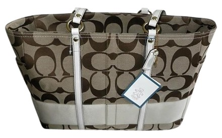 Preload https://item4.tradesy.com/images/coach-sig-stripe-lg-multifunction-baby-diaper-khaki-white-signature-jacquard-c-fabric-leather-tote-421678-0-0.jpg?width=440&height=440