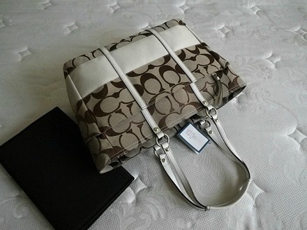 Coach Louis Vuitton Dooney Bourke Rare Tote in Khaki, WHITE