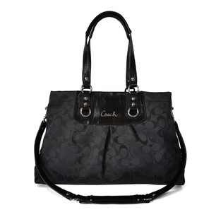 Coach Signature Jacquard Satchel in Black