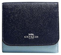 Coach Small Wallet In Geometric Colorblock Crossgrain Leather