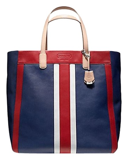 Coach Weekend Beach Large Red Leather Red, White, Blue Tote Bag on ...