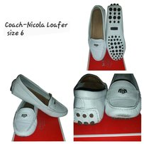 Coach white leather Flats