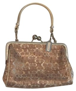 Coach Mini Handbag Evening Wristlet in gold