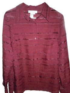 Coldwater Creek Button Down Shirt Maroon