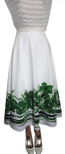 Coldwater Creek Clean Well Cared For Unique Moves Nicely Priced To Sell Skirt WHITE + GREEN BORDER COTTON