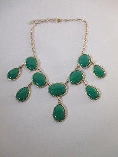 Coldwater Creek Coldwater Creek Green Collar Teardrop Cabochon Statement Necklace