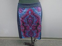 Coldwater Creek Paisley Blend Lined Pencil 3265a Skirt Blue Pink Red