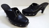 Cole Haan Leather Studded Clog Mules B Black Platforms