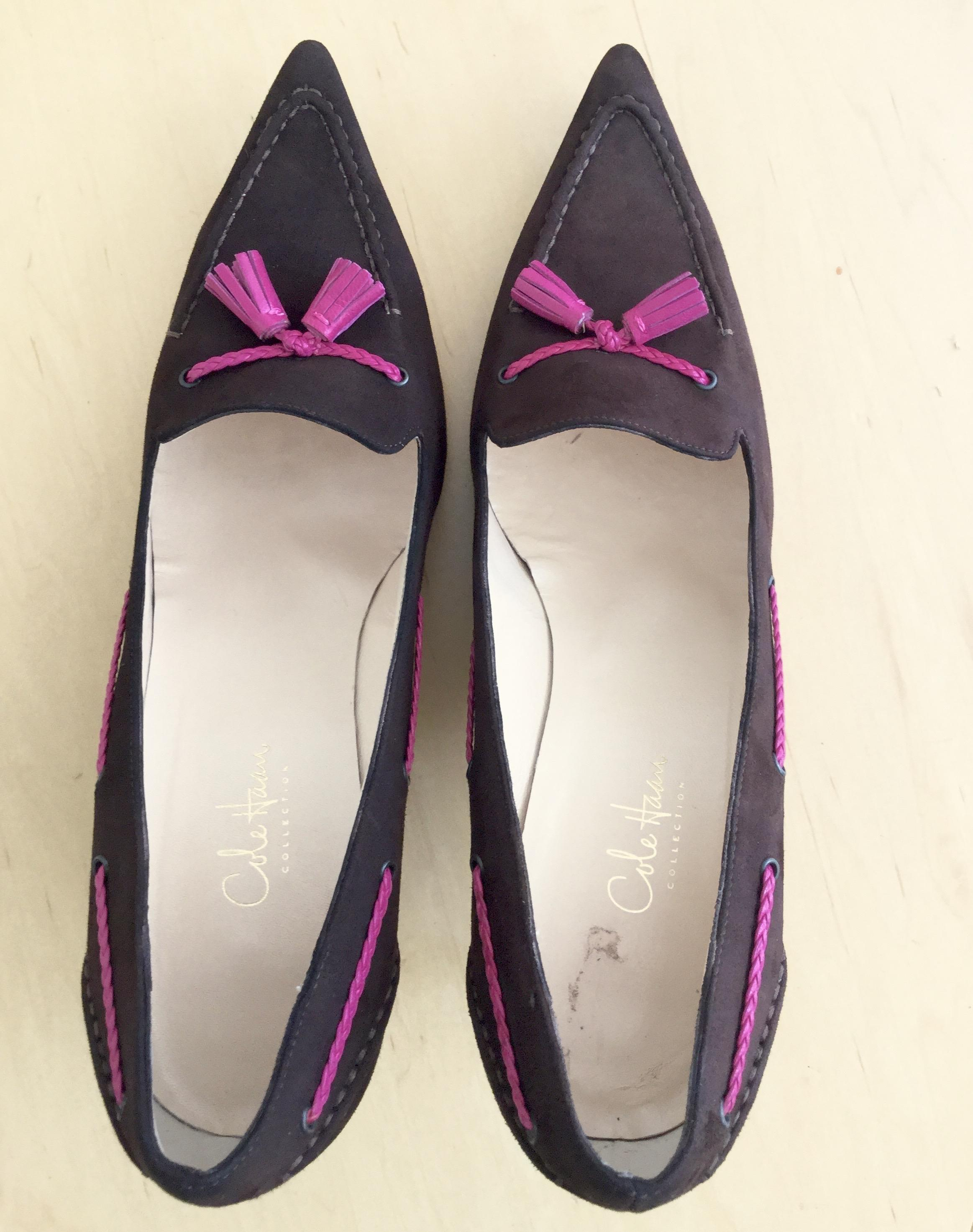 Cole Haan Italian * Brown Suede * Pink Braided * Tassel Heals European  Designer Pumps Size US 9 Regular (M, B) - Tradesy