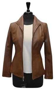 Cole Haan E0 Wmns Soft Leather Wing Collar Zip Up Moto Tan Jacket