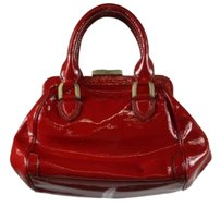 Cole Haan Womens Patent Leather Handbag Satchel in Brick Red