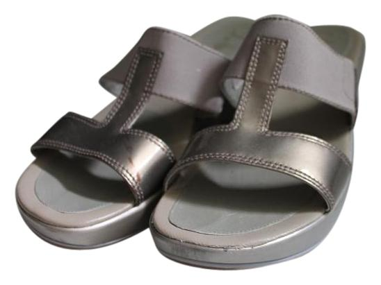 2c24c0529f9a ... new style cole haan elastic metallic comfortable taupe grey sandals  0587d fb0a5