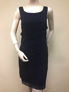 Connected Apparel Asymmetrical Navy Dress
