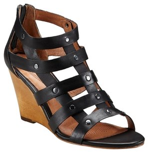 Corso Como Leather Sandal Studded Date Night Black Wedges