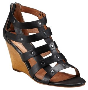 Ballasox by Corso Como Leather Wedge Sandal Studded Black Wedges