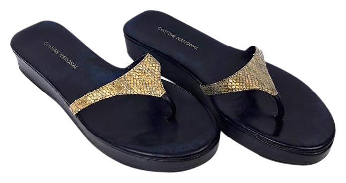 CoSTUME NATIONAL Gold & Navy Gold/Navy Leather Thong Sandals Platforms Size US 6 Regular (M, B)